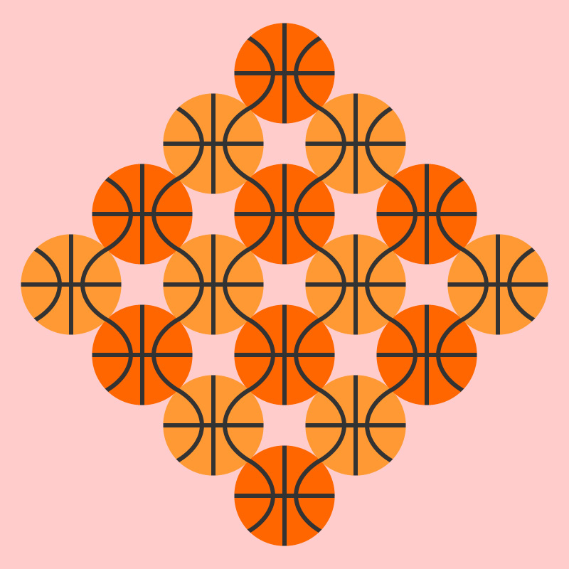 Repeat pattern basketball illustration