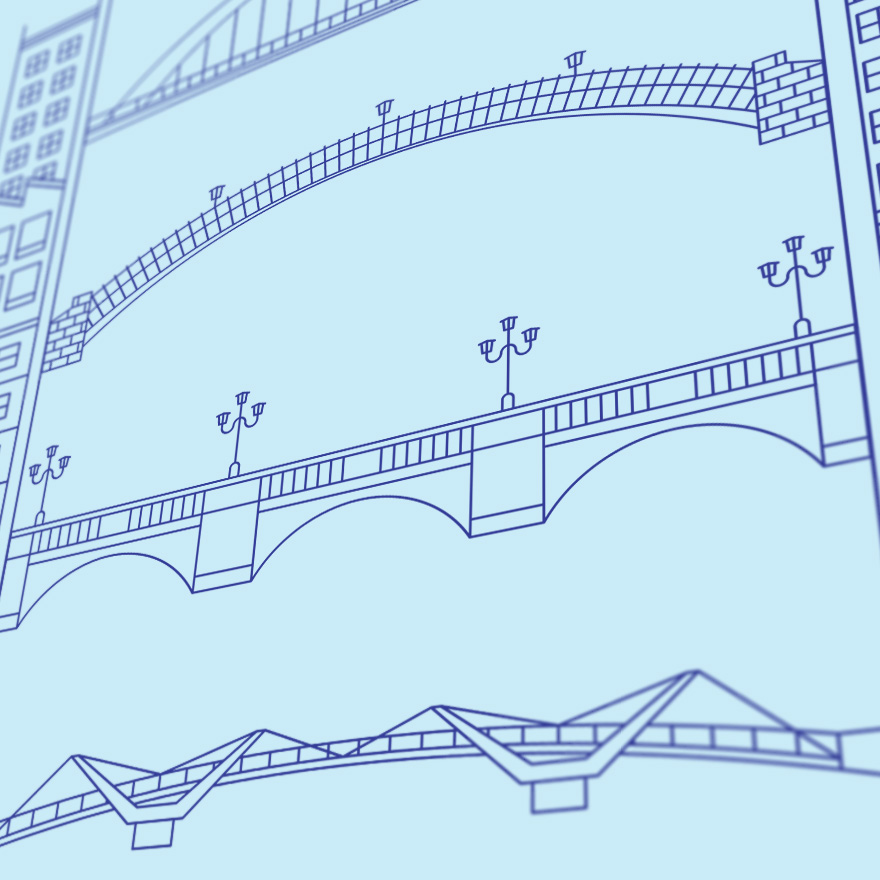 Detail of screenprinted illustration of five Dublin bridges over the river Liffey