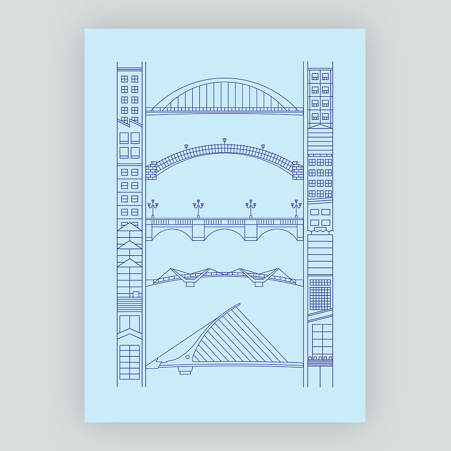 Screenprinted illustration of five Dublin bridges over the river Liffey