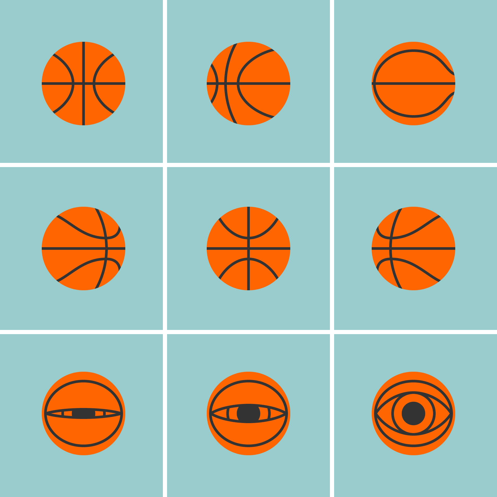 Illustration of a basketball rotating and then morphing into an open eye in 9 stages