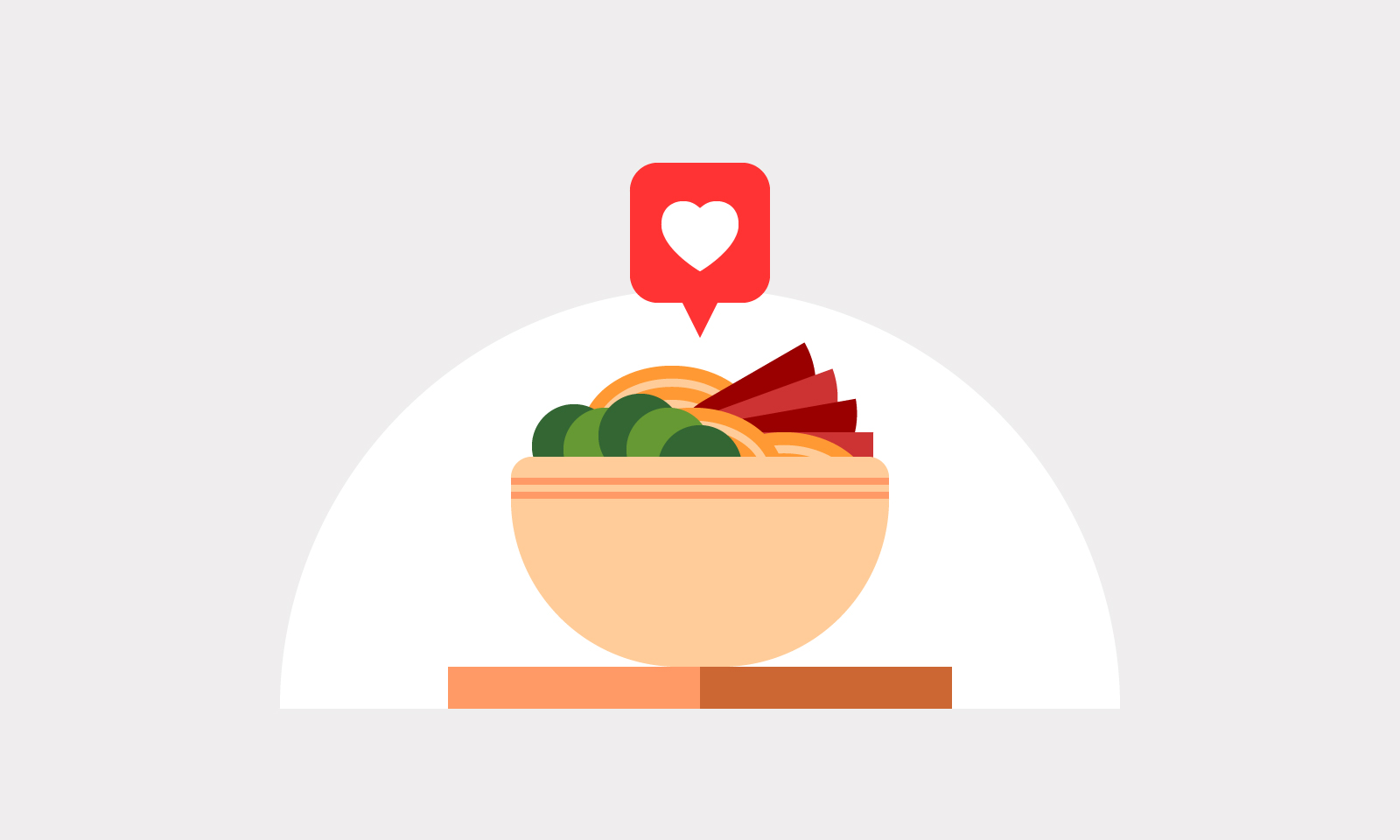 Illustration of a bowl of vegetables, meat and noodles with a heart icon above it