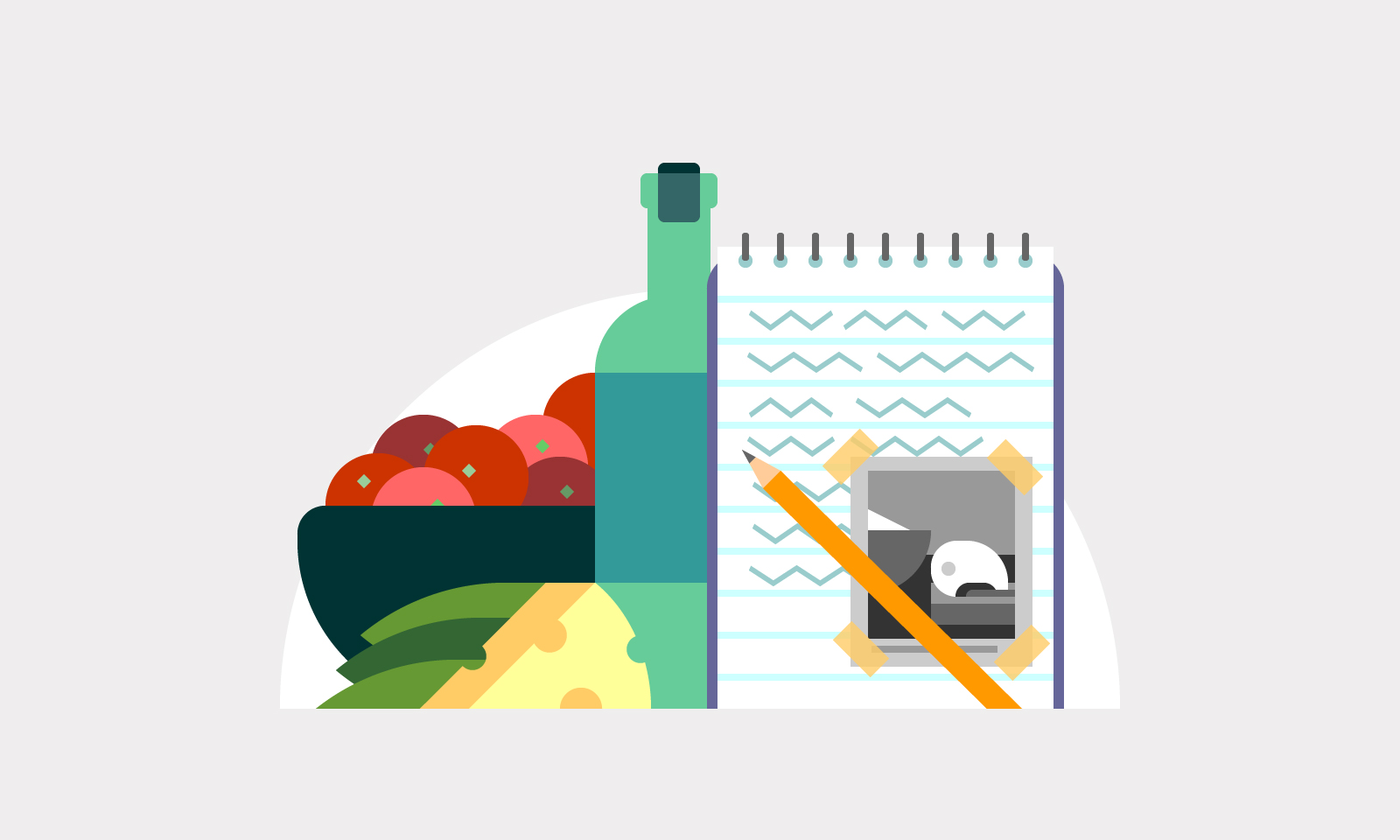 Illustration of a notebook and pencil with food and drink in the background