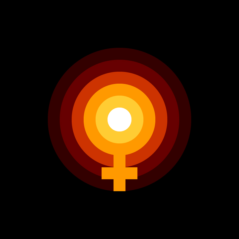 Female venus symbol as part of an illustration of the sun